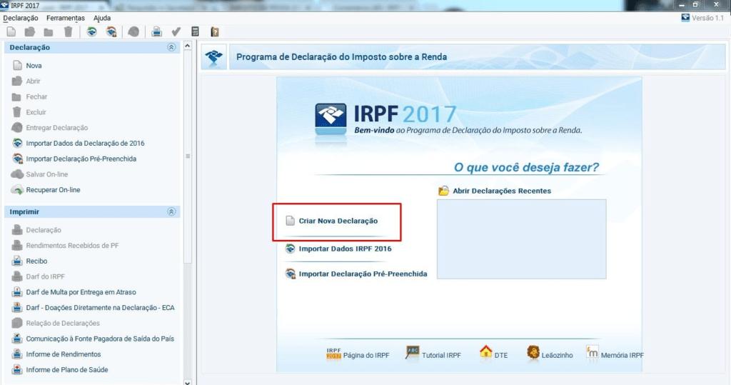 tela do programa do IRPF