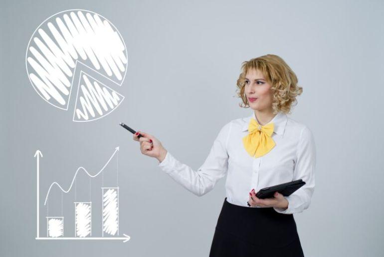 Mulher com tablet apontando para gráficos na tela. Imagem ilustrativa para texto franquias lucrativas.