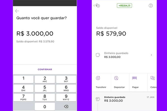 """Função """"guardar dinheiro'' da NuConta - Nubank/Reprodução"""